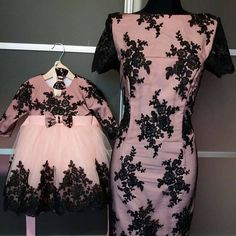 Mommy and Me matching lace dresses in pink color with black lace fabric Listing is for the Mommy and Me dress set. Very elegant and stunning mommy and me matching lace knee length dresses. Daughters dress has tutu skirt. Mothers dress is pencil tight knee length dress. Very feminine and