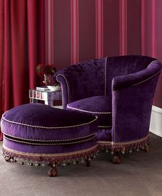 love the chair, but not the ruffles and beads hanging from it or the wall background colors Purple Love, Shades Of Purple, Periwinkle, Purple Stuff, Purple Things, Deep Purple, Furniture Design, Cool Furniture, Purple Furniture