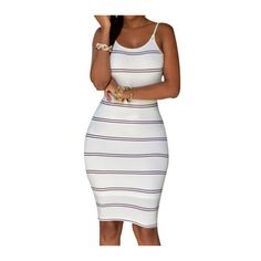 Stripe Print Backless White Bodycon Dress ($15) ❤ liked on Polyvore featuring dresses, white, white sheath dress, white bodycon dress, white knee length dress, sexy dresses and white sleeveless dress