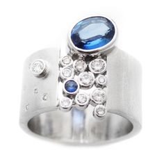 blue: the south's premier modern jeweler, exclusively showcasing one-of-a-kind pieces in susan west's iconic, modern designs. www.bluegoldsmiths.com #sapphirering #modernengagement #modernring #somethingblue #sapphire #bluesapphire #whitegold #handmade #bluebysusanwest #susanwest