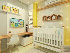 Quarto de Bebê em tons de azul, amarelo e cinza. A madeira deixa tudo mais aconchegante e esquenta um pouco o ambiente.  @daisyandrade_arquitetura