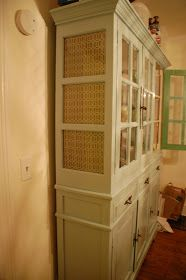 Trapped In North Jersey: Gluing fabric to inside of a glass china cabinet