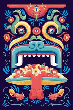 Trajinera on Behance Mexican Graphic Design, Mexican Designs, Art Chicano, Mexican Pattern, Art Tribal, Mexico Art, Wow Art, Mexican Folk Art, Mural Art