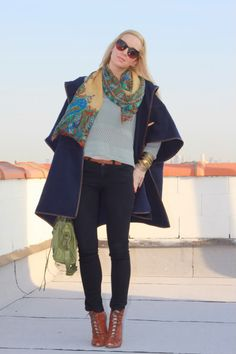 H Sweater, ASOS Cape, Lucky Scarf, F21 Pants, Sam Edelman Shoes, Elizabeth & James Sunglasses, Balenciaga Bag.
