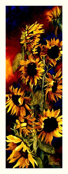 Sunflower Sun Flower Yellow Warm Cool Tall Narrow Colors Painting - Ill Follow The Sun by Mike Hill