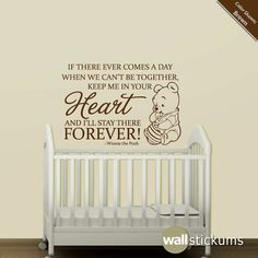 Nursery Wall Decal Quote Winnie the Pooh Heart by WallStickums $28.00 Another quote & winnie the pooh wall sayings decals for kids | ... .etsy.com/listing ...