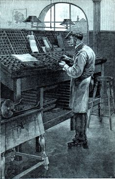 The Compositor at Work - from Harper's magazine, 1887, same date as my Golding Pearl Press!