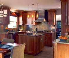 Small Kitchen with Square Center Island. I like this for a smaller kitchen