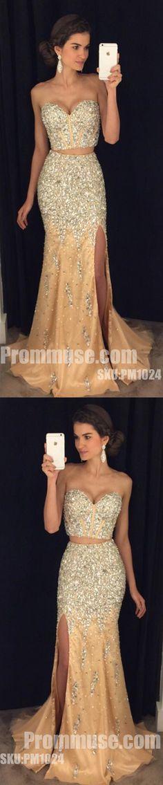 Sweetheart 2 Pieces Shinning Beaded Split Mermaid Long Prom Dresses, PM1024 #promdress #promdresses #longpromdress #longpromdresses #eveningdress