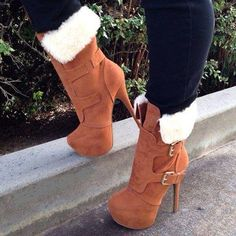 Cognac boots with the fur...no apple bottom jeans though. Lol