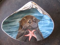 Hand Painted Clam Shell - Sea Otter - Beach Home Decor () by SeaArtbyMelinda