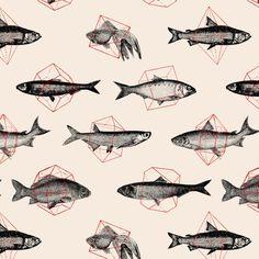 Fishes In Geometrics (Red) Art Print