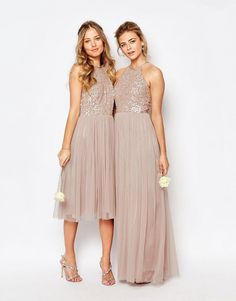 Image 3 ofMaya High Neck Midi Tulle Dress With Tonal Delicate Sequins
