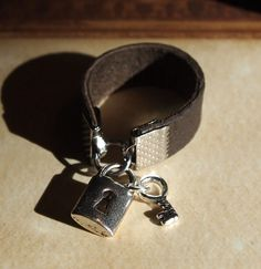 Brown Leather Lock & Key Ring @TheBookSwagShop