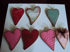 cuttlebug heart ornaments