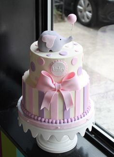 Check out our awesome original baby shower cake designs! Torta Baby Shower, Tortas Baby Shower Niña, Baby Shower Pasta, Elephant Baby Shower Cake, Elephant Cakes, Elephant Party, Baby Shower Cake For Girls, Girl Shower, Bolo Laura