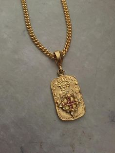Necklace - Golden Fleeur de Lis Dog Tag with Rubies by Roman Paul #romanpaul