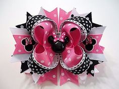 "MINNIE MOUSE Pink Handmade Boutique Stacked Hair Bow Pink/Black/White 5"" x 4.5"""