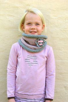 Knit Scarf Kids cowlBlush pink and grey neckwarmer by VeraJayne, $30.00