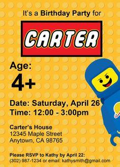 Custom LEGO Birthday Invitation  Printable by ThisWiddlePiggy, $8.00