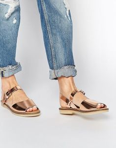 Cute Summer sandals you can wear to work: Aldo Flat Comfortable Roncari Rose Gold Leather Flat Sandals ($65)