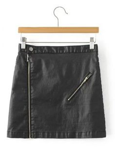 SHARE & Get it FREE | Stylish Black Faux Lether Zip Up Short SkirtFor…
