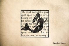 Mermaid on Seashore Text Rubber Stamp - 2 x 2 inches