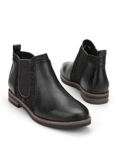 459267c20 Marco Tozzi damesboot Description  Zwarte enkellaarsjes (Chelsea boots) van  het merk Marco Tozzi