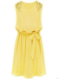 Yellow Sleeveless Bead Belt Chiffon Sundress - Sheinside.com Mobile Site