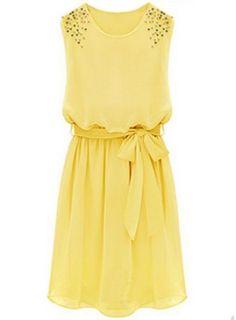 Yellow Sleeveless Bead Belt Chiffon Sundress - Sheinside.com Mobile Site
