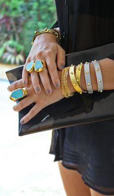 Studded Leather Wrap Bracelet - Gold.