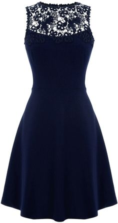Womens navy skater dress from Warehouse - £68 at ClothingByColour.com