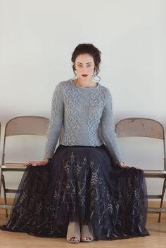 Пуловер Irina, вязаный спицами из твида и мохера, узором решетка с косами