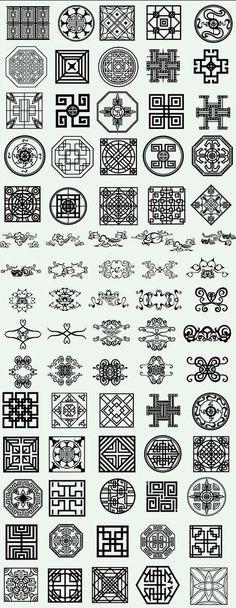 多款民间传统图案矢量素材(一)-矢量-视...@Emo_mai采集到中式文化(206图)_花瓣