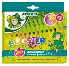Jolly's Booster XL Fasermaler - ideal für Kindergarten Kids. Nicht eindrückbar, nachfüllbar, ungiftig, auswaschbar, in 14 tollen Farben und man kann die Teile einzeln nachkaufen. Einfach kinderfest!