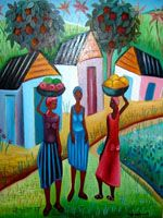 Haitian naive art - I had something like this in my house growing up :)