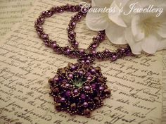 Purple and bronze beaded necklace peridot Rivoli amethyst