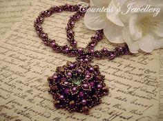 Purple and bronze beaded necklace peridot Rivoli amethyst