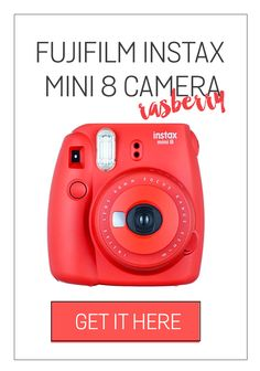 Rasberry Fujifilm Instax Mini Camera: Where to Find Red (Raspberry) Fujifilm Instax Mini 8 Camera? Click the pin to find out!
