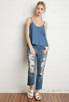 Button-Front Chambray Cami | Forever 21 - 2000167296