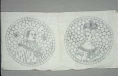 "Pattern For Embroidery, Louis XVI' and ""Marie Antoinette, early 20th century"