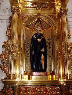St. Peregrine Chapel statue San Juan Capistrano Basilica - ornate Gold niche - Patron saint of cancer victims and wound sufferers
