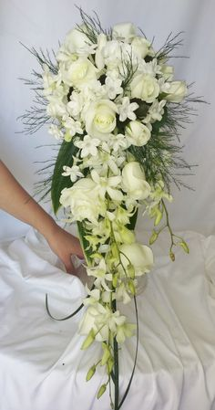 All white cascading bridal bouquet pinned by eventsbystephanie.net