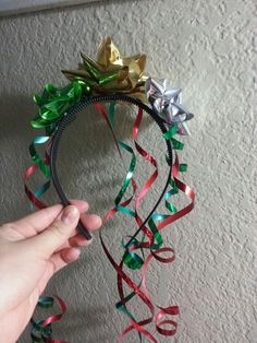 Diy Christmas bow headpiece! Great for ugly sweater Christmas party!