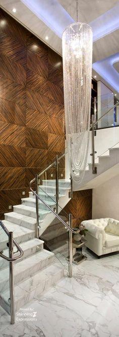 Pfuner Design, Interior Design at Jade Ocean, PH - contemporary - Staircase - Miami - Pfuner Design - Interior Design Miami Marble Staircase, Foyer Staircase, Staircase Design, Stair Design, Wall Design, Luxury Interior Design, Interior Exterior, Interior Decorating, Stair Walls