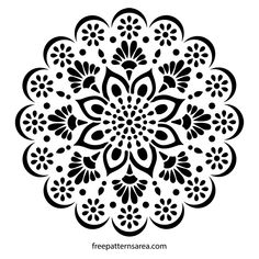 Flower and leaf patterned mandala stencil pattern to make decal and sticker. It is thought that the Mandalas symbolize the structure of the universe in Hinduism and Buddhism. Mandala appears not on… Stencil Wall Art, Wall Stencil Patterns, Stencil Designs, Printable Stencil Patterns, Bird Stencil, Damask Stencil, Art Patterns, Design Patterns, Image Mandala