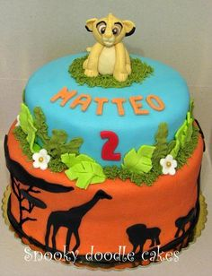 lion king birthday cake - Google Search. But with a figurine instead of a fondant Simba