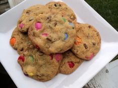 Famous Smartie Cookies. I just baked these this afternoon and they were quite delicious but they took longer to bake through than the recipe says and I'd add less sugar next time. The taste of the oats in them was quite delicious though.