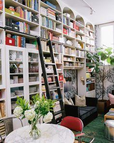 cup of jo: ikea bookshelf with custom shelves built on top