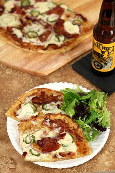 Bacon, Jalapeno, Red Onion and Cream Cheese Pizza from @creativculinary